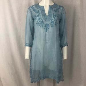 Silk sheer embroidered India tunic dress lt blue S
